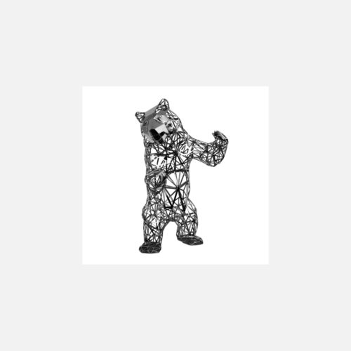 Carved Standing Wild Bear Chrome by Richard Orlinsk