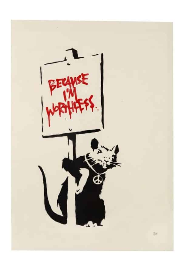 Because I'm Worthless (Red) - Banksy