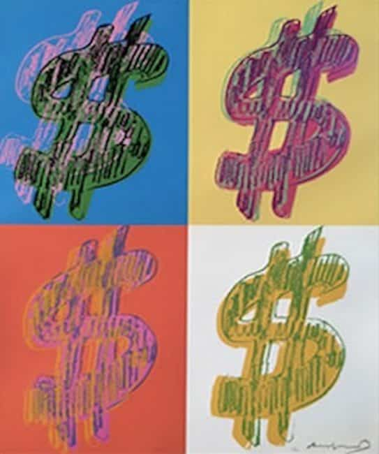 Dollar Sign 284 (Quad) By Andy Warhol
