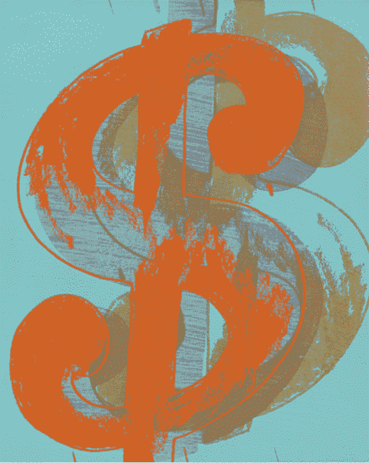 Single $ (Orange) By Andy Warhol